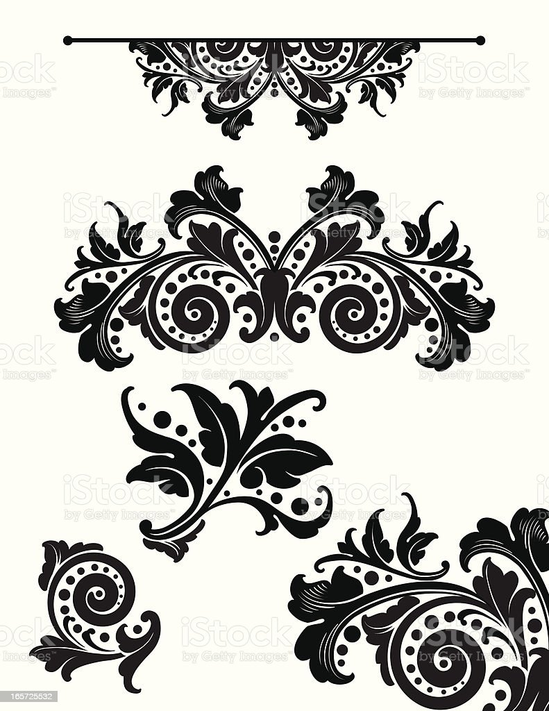Leaf and Scroll Set royalty-free leaf and scroll set stock vector art & more images of 2000-2009