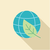 Leaf Eco Globe Environment Icon in thin line flat design style.