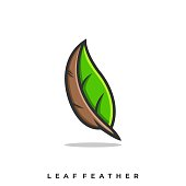 Leaf Feather Illustration Vector Template. Suitable for Creative Industry, Multimedia, entertainment, Educations, Shop, and any related business.