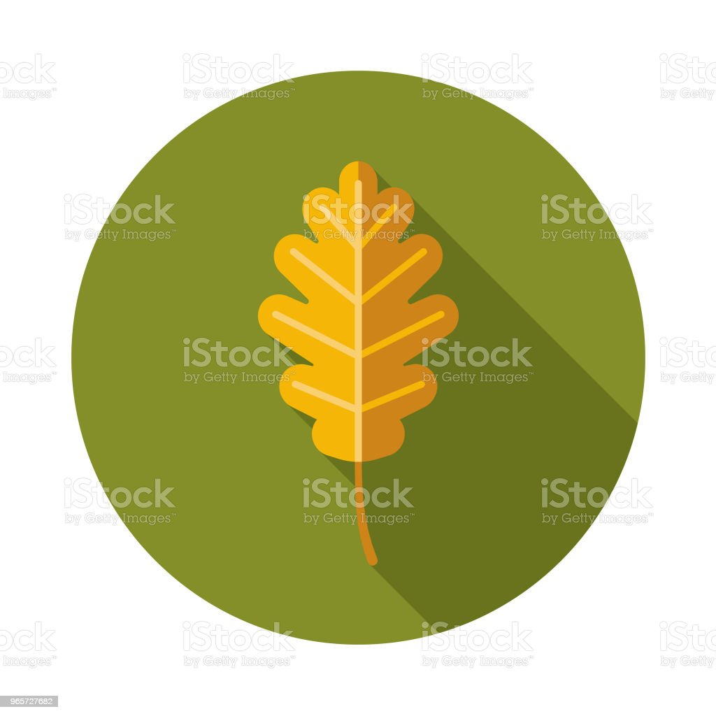 Leaf Flat Design Autumn Icon with Side Shadow - Royalty-free Autumn stock vector