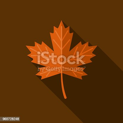 A colored flat design autumn themed icon with a long side shadow. Color swatches are global so it's easy to edit and change the colors.