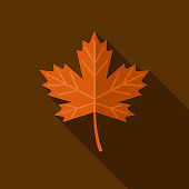 Leaf Flat Design Autumn Icon with Side Shadow