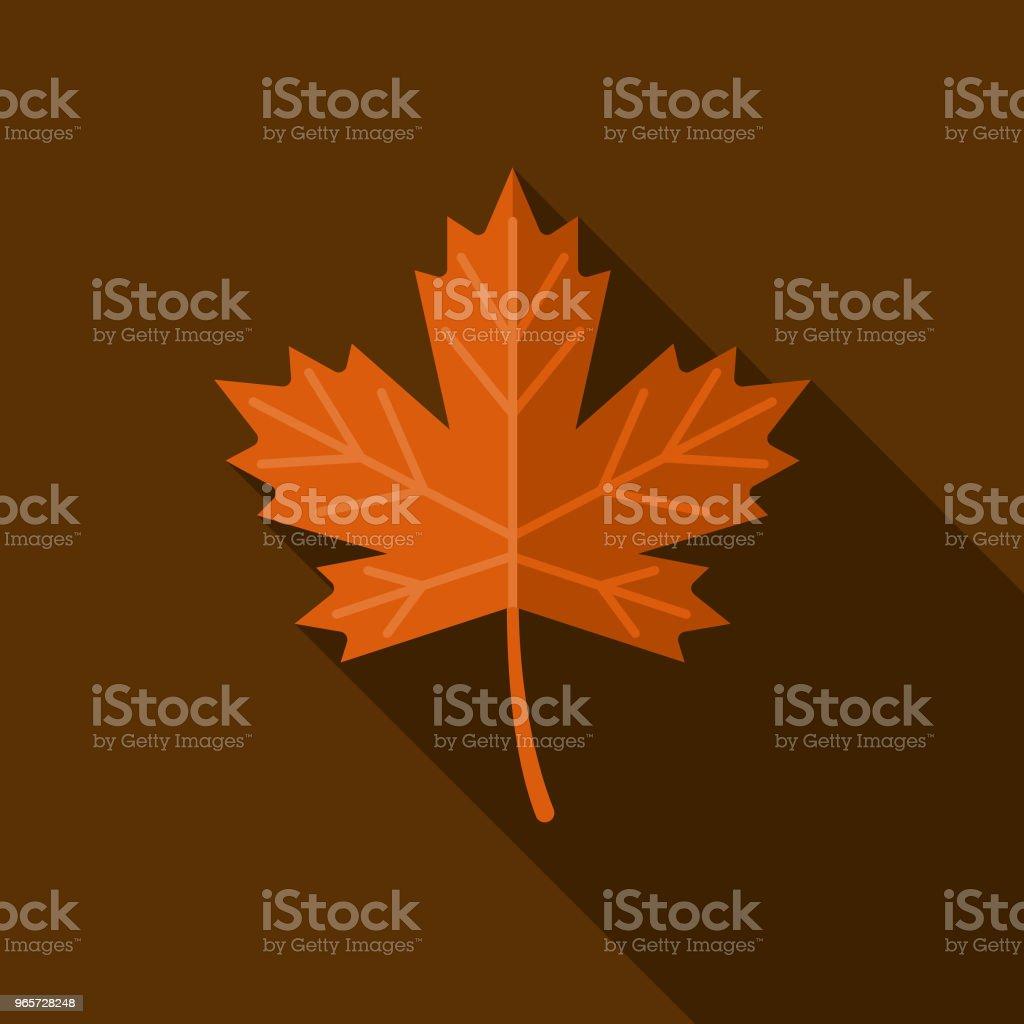 Blatt flach Herbst Designikone mit Seite Schatten – Vektorgrafik