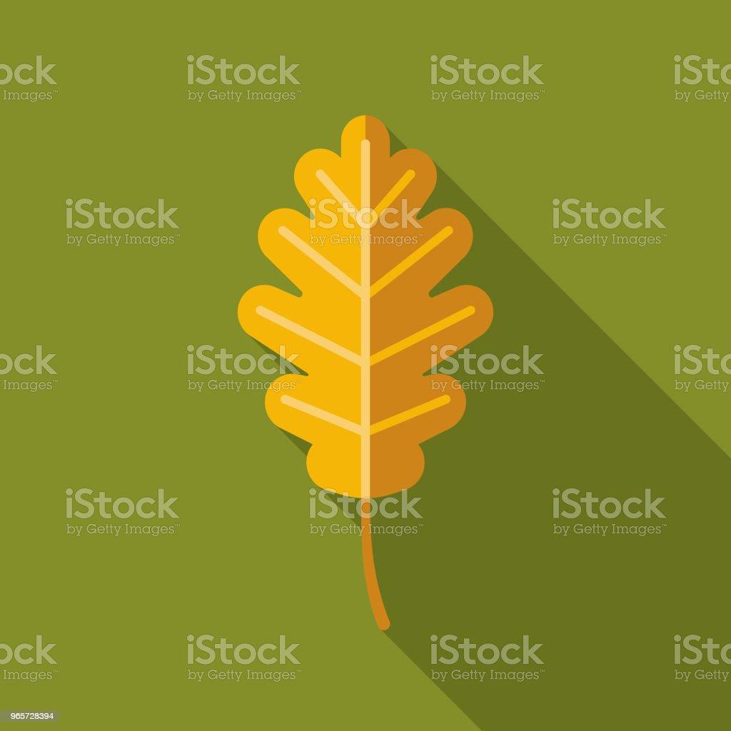 Leaf Flat Design Autumn Icon with Side Shadow - Векторная графика Без людей роялти-фри