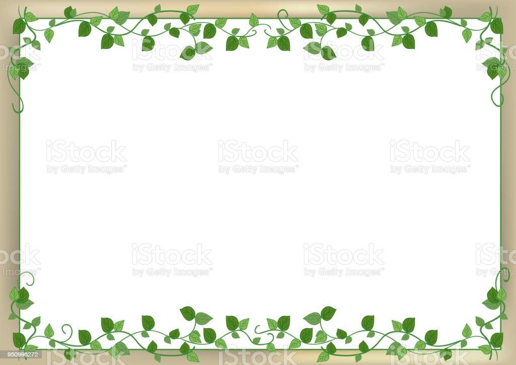 leaf frame with back wall image vector art illustration
