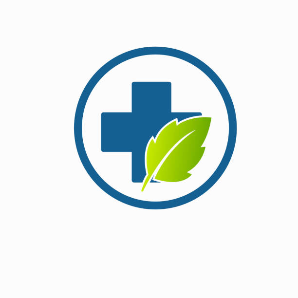 leaf health care green medical logo isolated vector art illustration