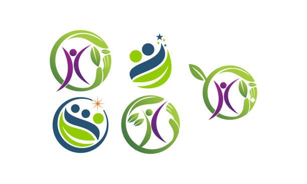 ilustraciones, imágenes clip art, dibujos animados e iconos de stock de conjunto de plantillas de salud hoja - medicina del deporte
