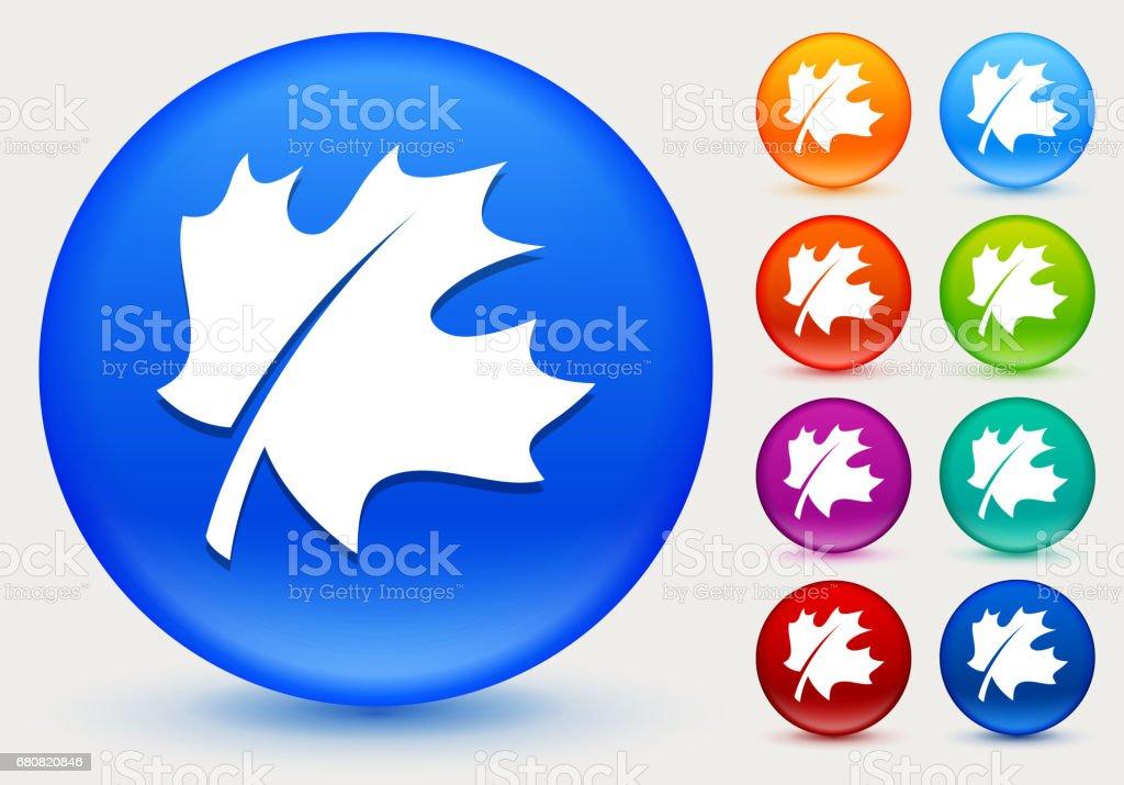 Blatt-Symbol auf glänzenden Farbkreis Tasten – Vektorgrafik