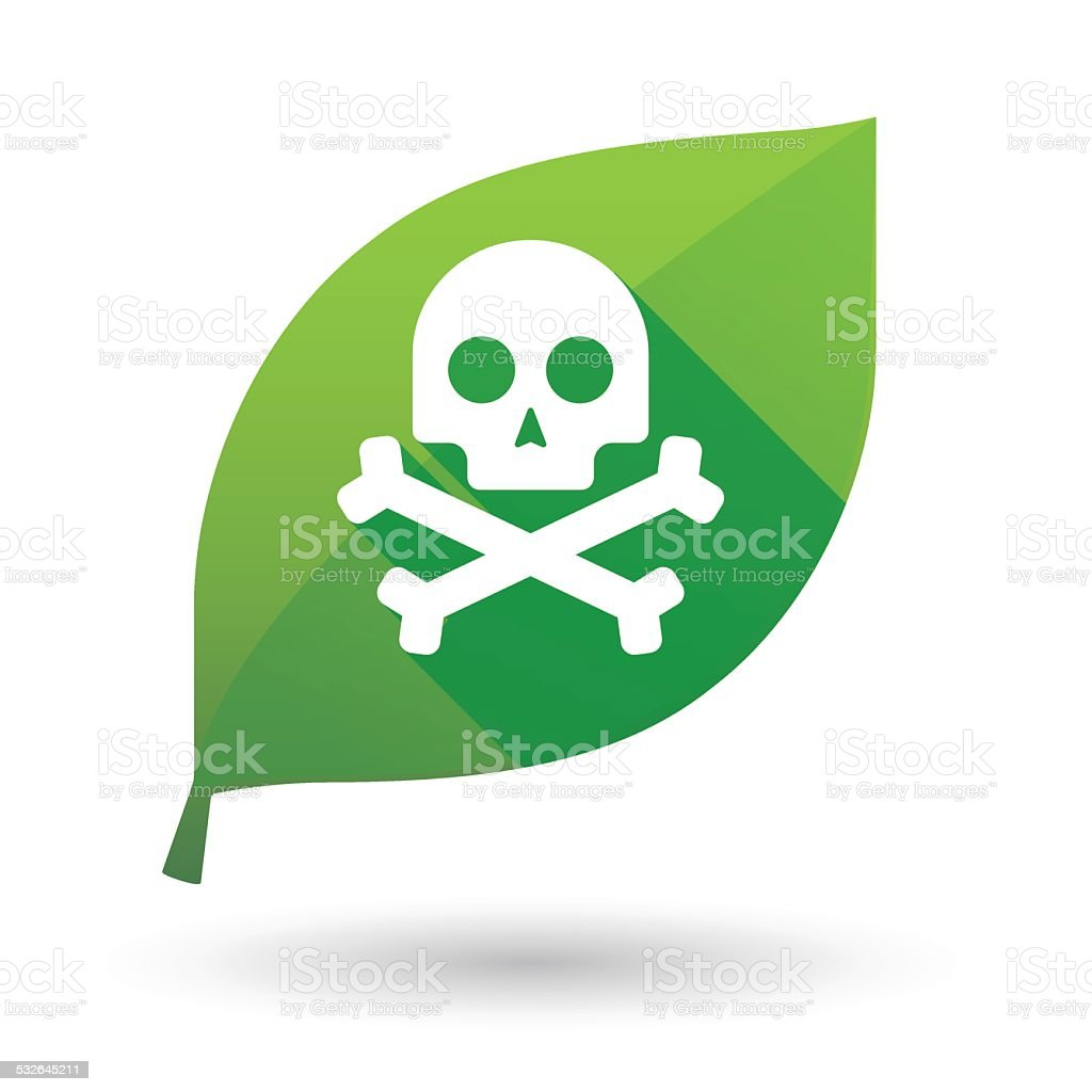 leaf icon with a skull vector art illustration