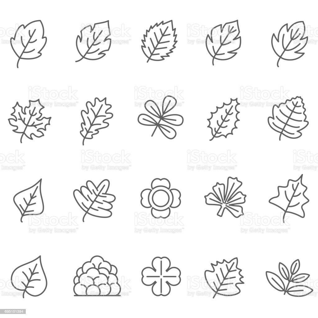 leaf icons set vector art illustration