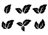 black leaf icons set on white background