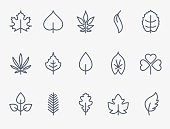 Leaf icons. Thin lines design