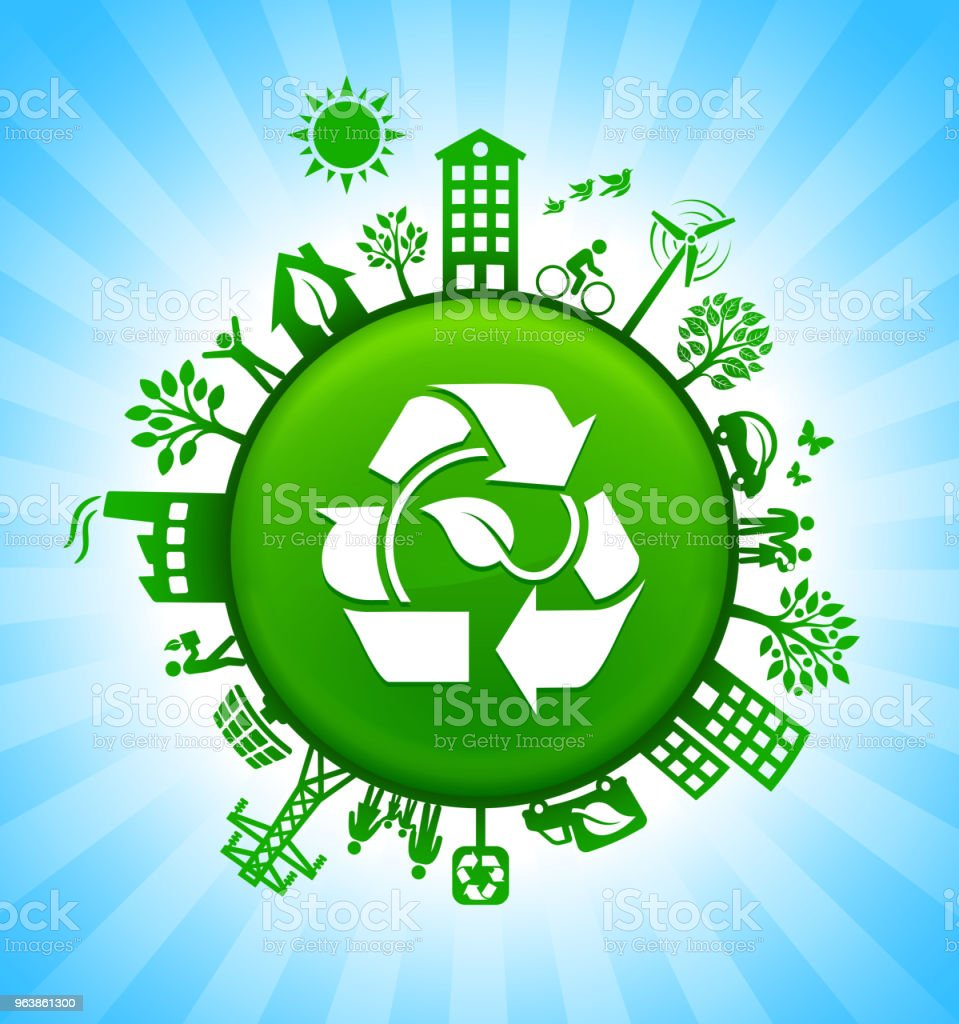 Leaf in Recycling Environment Green Button Background on Blue Sky - Royalty-free Alternative Energy stock vector