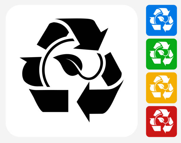 leaf in recycling symbol icon flat graphic design - composting stock illustrations