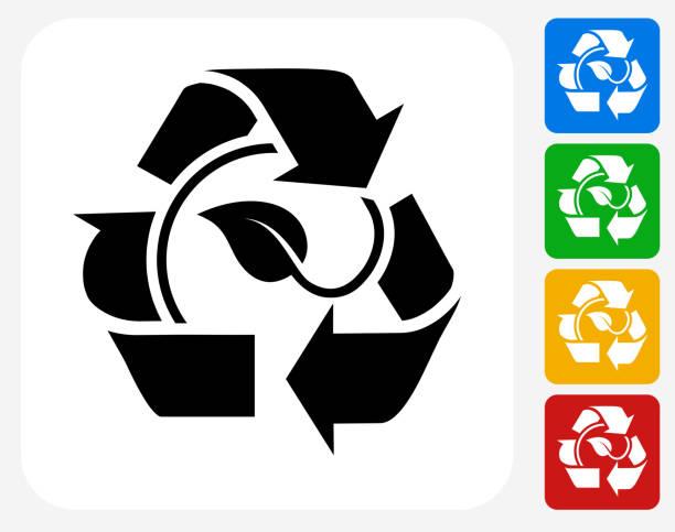 illustrazioni stock, clip art, cartoni animati e icone di tendenza di foglia di simbolo del riciclaggio progettazione grafico icona piatta - composting