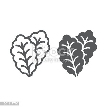 Leaf Lettuce line and glyph icon, vegetable and diet, vegetarian sign, vector graphics, a linear pattern on a white background, eps 10.