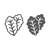 istock Leaf Lettuce line and glyph icon, vegetable and diet, vegetarian sign, vector graphics, a linear pattern on a white background, eps 10. 1001117760