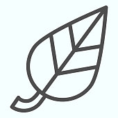 Leaf line and solid icon. Simple single item of tree plant leaves. Autumn season vector design concept, outline style pictogram on white background, use for web and app. Eps 10