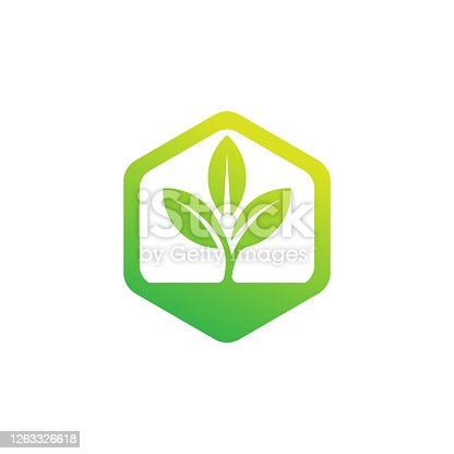 istock Leaf Logo design vector illustration. Abstract Leaf Logo vector in creative design concept for nature, agriculture and farm business. Tree Leaf Logo, icon, sign and symbol vector design illustration 1263326618