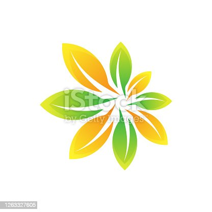 istock Leaf Logo design vector illustration. Abstract Leaf Logo vector in creative design concept for nature, agriculture and farm business. Tree Leaf Logo, icon, sign and symbol vector design illustration 1263327605