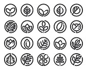 Leaf logo design vector set. Various icons of leaves.