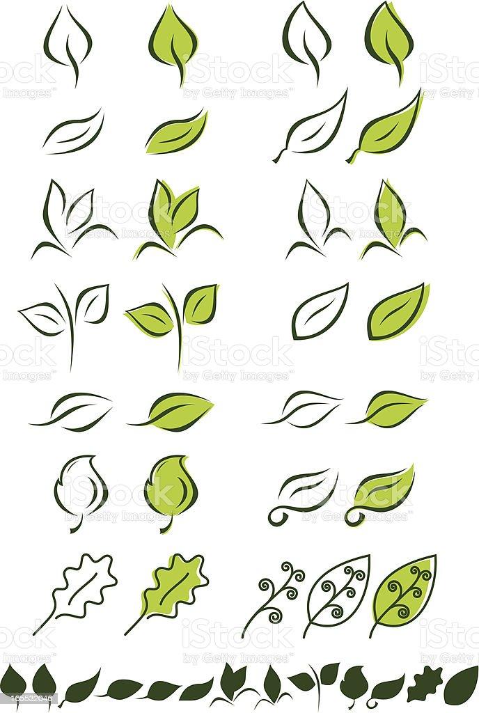 Leaf Logos Vector Set 1 vector art illustration