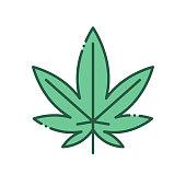 Leaf marijuana color line icon. Narcotic substance. Alternative to medicine product sign. Pictogram for web page, mobile app, promo. UI UX GUI design element. Editable stroke.