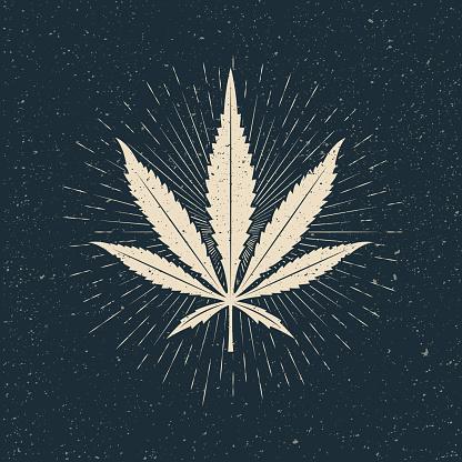 Leaf of marijuana light silhouette on dark background. Vintage styled vector illustration