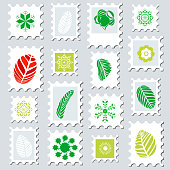 leaf pattern in stamp style