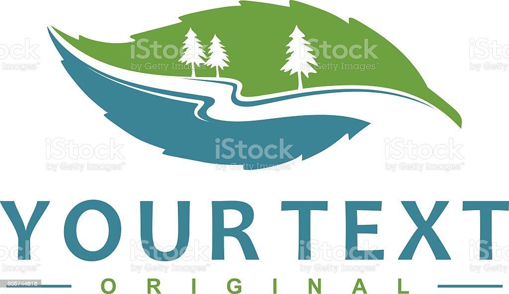 leaf river flow vector art illustration