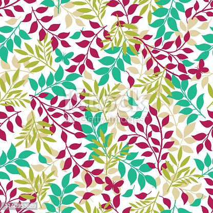 Vector leaf seamless pattern .