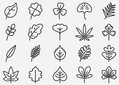 Leaf Shape Line Icons