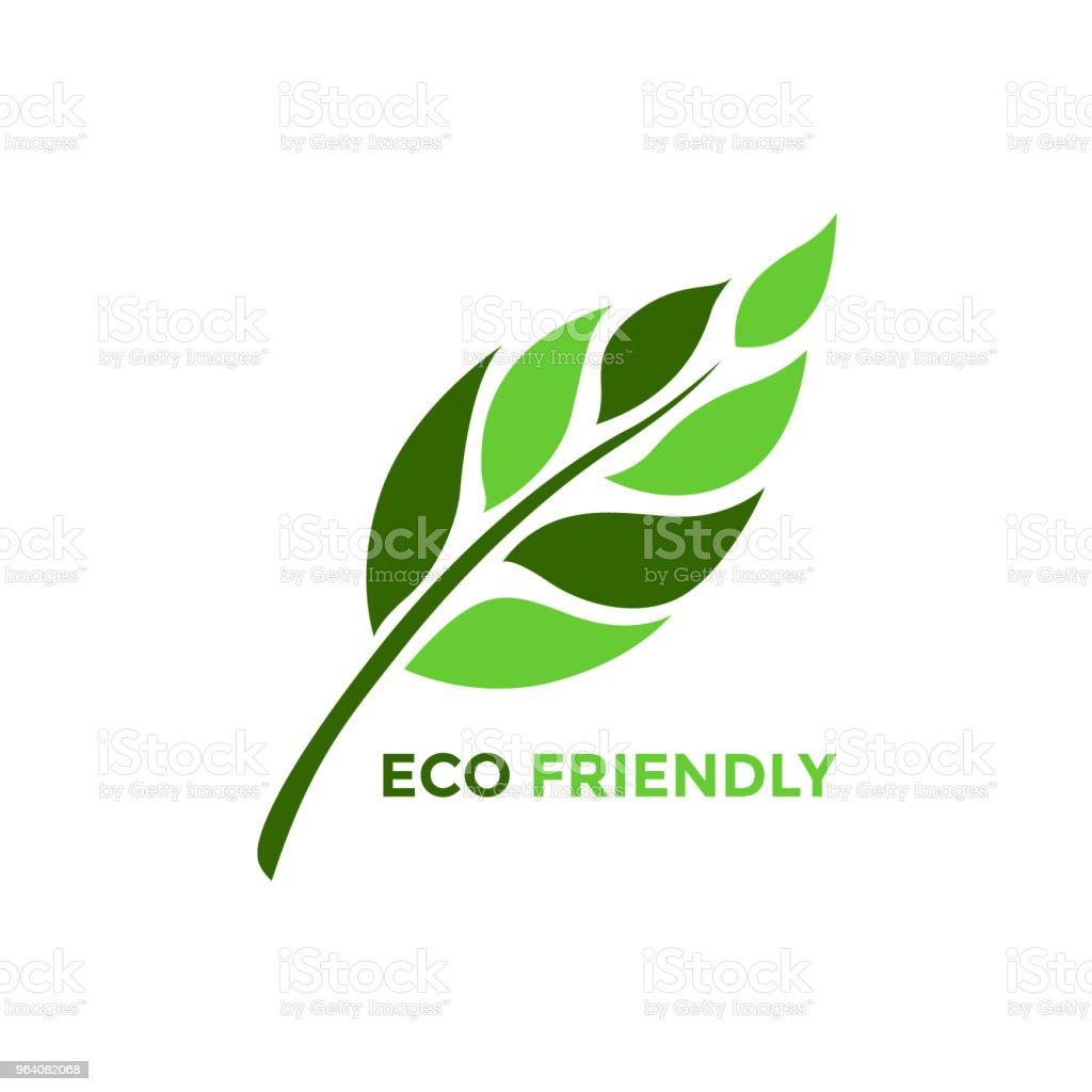 葉の木花エコ フレンドリーなロゴ アイコン シンボル ベクトル設計図 - アイコンのロイヤリティフリーベクトルアート