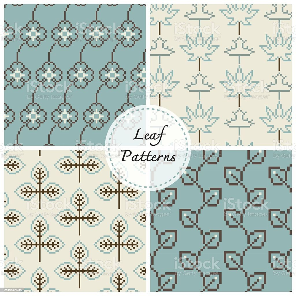 leaf vector pattern, background set royalty-free leaf vector pattern background set stock vector art & more images of abstract