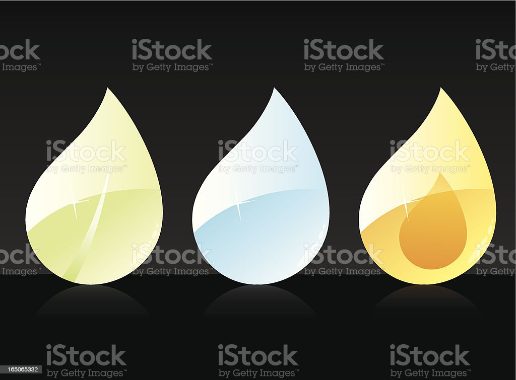 Leaf • Water • Fire royalty-free stock vector art