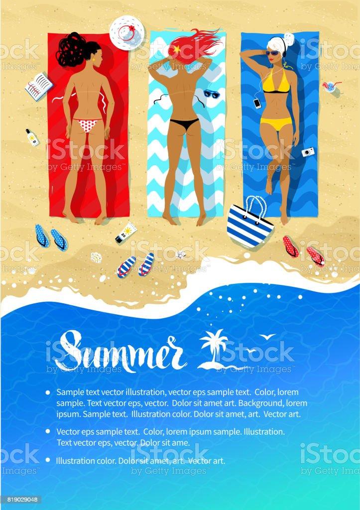 Leaflet design with family lying on beach vector art illustration