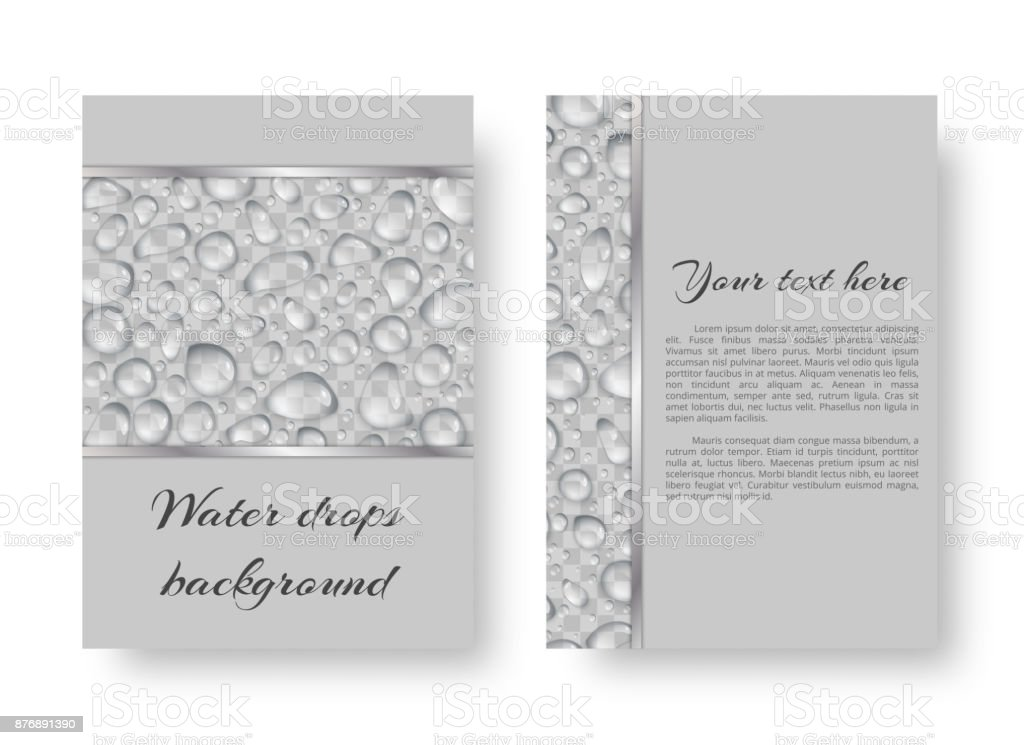 Leaflet with rain drops vector art illustration