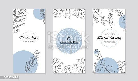 Set of cards or box covers for cosmetics and skincare products.