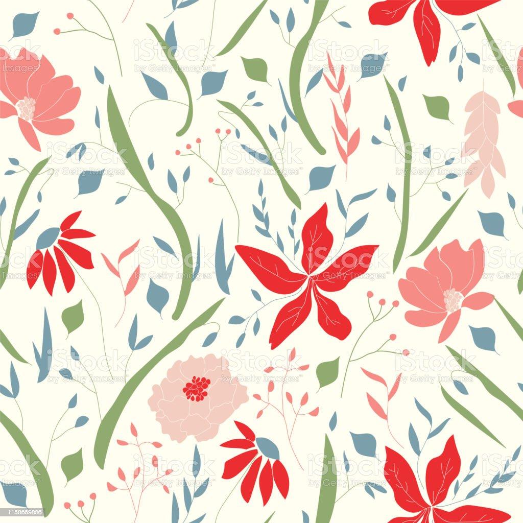 Leafy 70s Vintage Botanical Floral Vector Seamless Pattern Stock