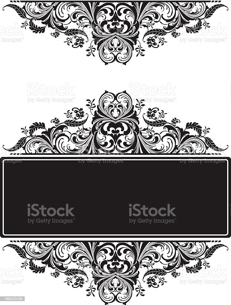 Leafy Floral Victorian scrollwork royalty-free stock vector art