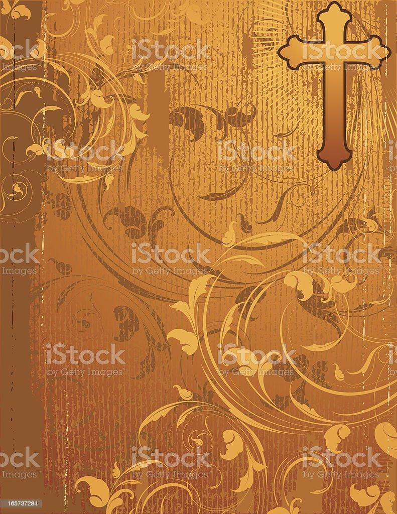 Leafy Golden Cross royalty-free stock vector art