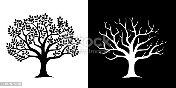 Leafy tree and scattered tree illustration set