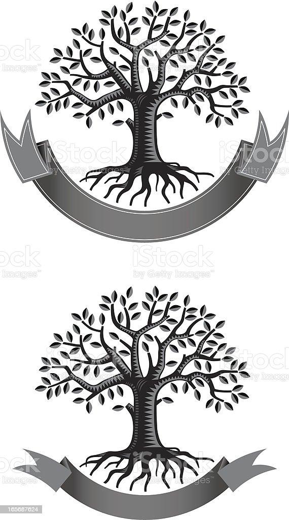 Leafy tree root banner vector art illustration