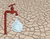 Leaking faucet in dried soil