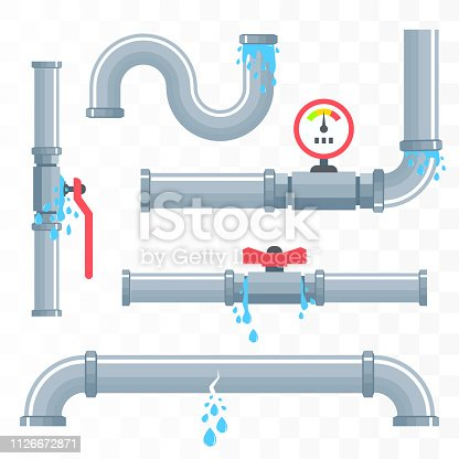 Leaking pipes. Broken pipeline. Vector illustration