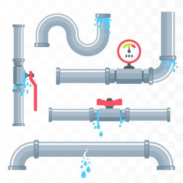 bildbanksillustrationer, clip art samt tecknat material och ikoner med läckande rör. - water pipes