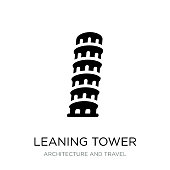 leaning tower of pisa icon vector on white background, leaning tower of pisa trendy filled icons from Architecture and travel collection
