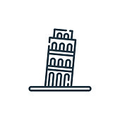 leaning tower of pisa vector icon. leaning tower of pisa editable stroke. leaning tower of pisa linear symbol for use on web and mobile apps, logo, print media. Thin line illustration. Vector isolated outline drawing.