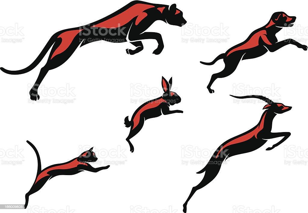 Leaping Animals vector art illustration