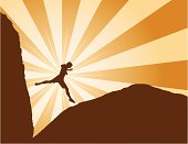 Vector Illustration of a man leaping from one rock to another in a stylized setting. An Adobe Illustrator CS3 file is also included.